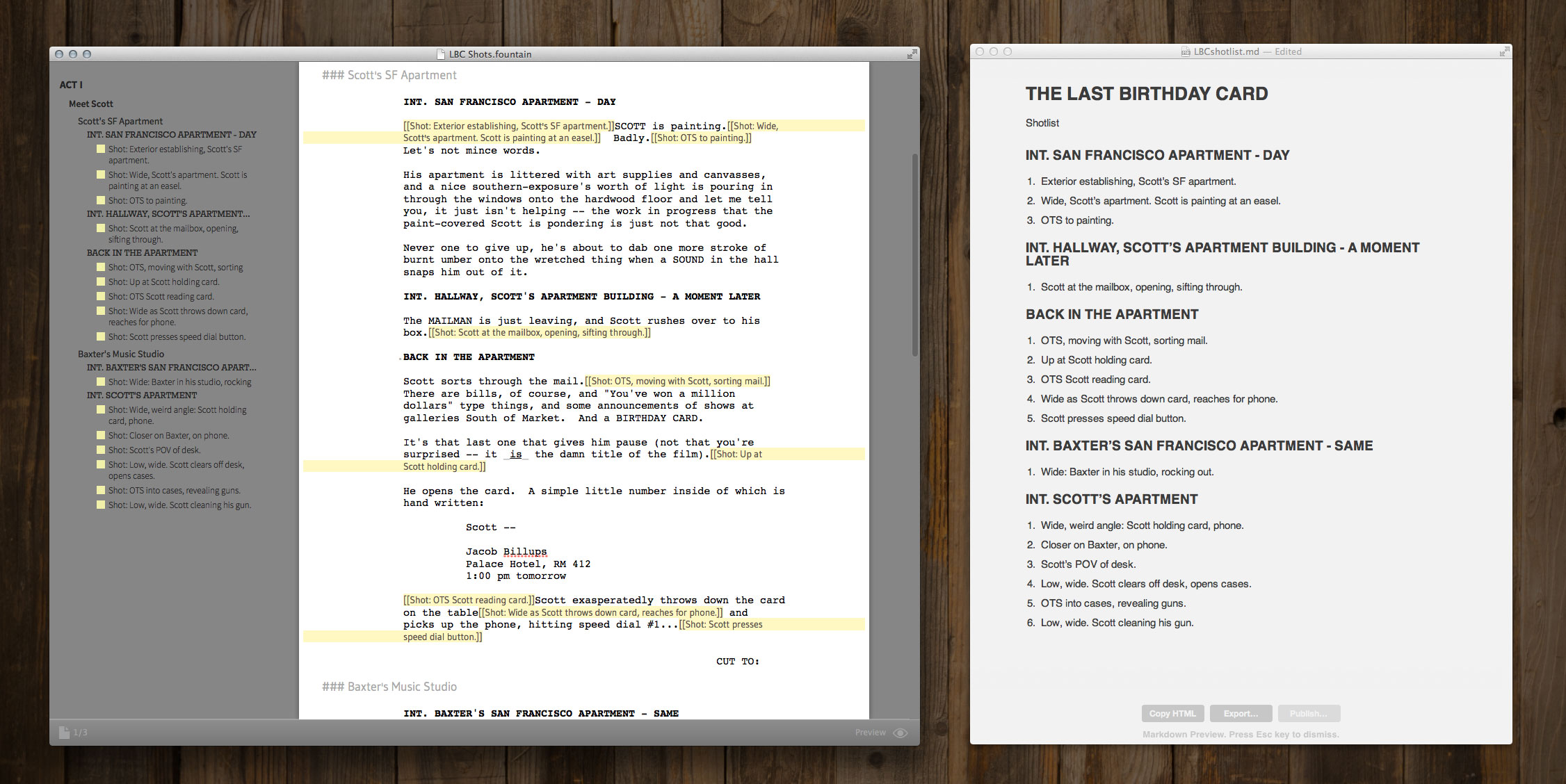 Shotlists from Fountain Screenplays — Slugline  Simply Screenwriting