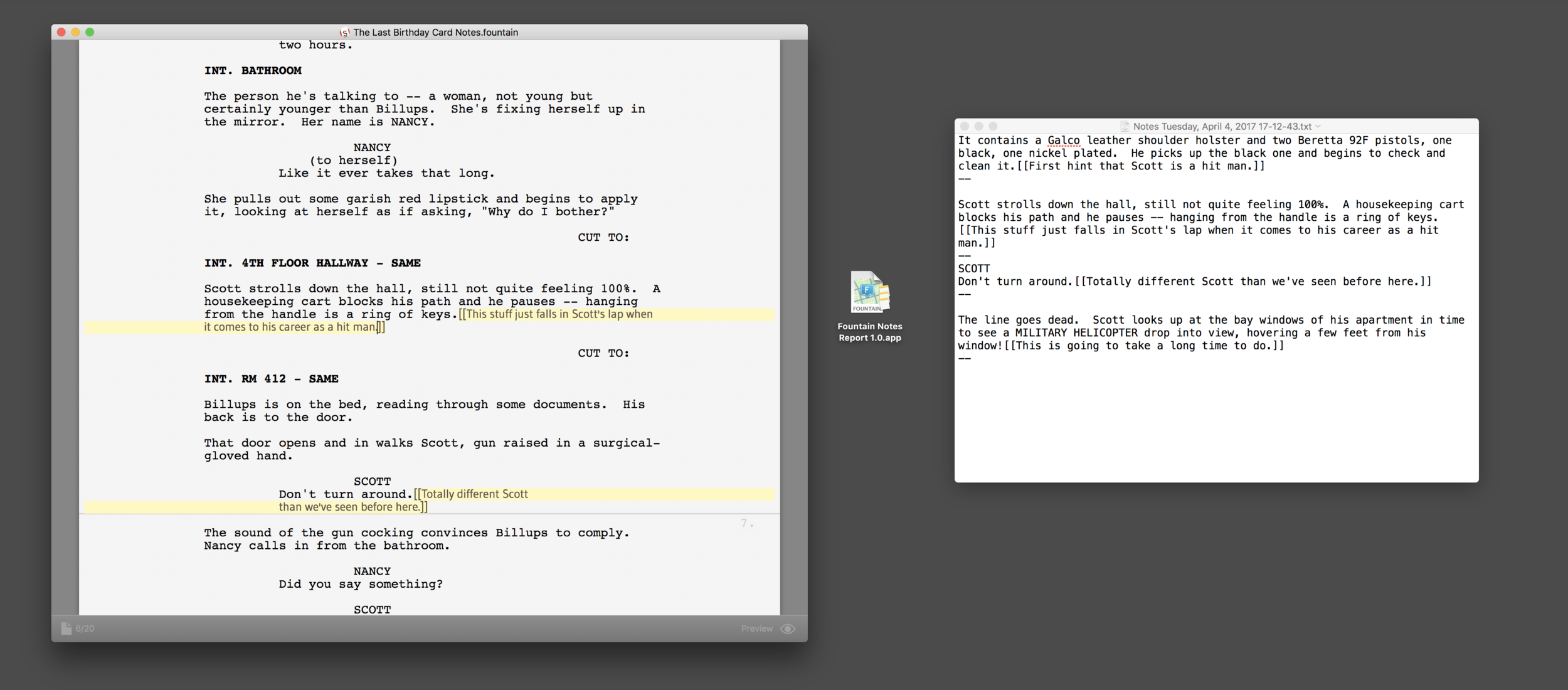 This app takes the Screenplay on the left and generates the Notes Report on the right.