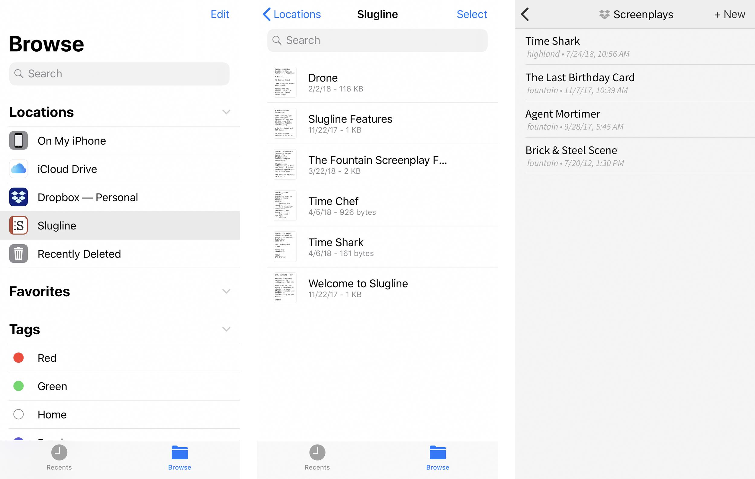 Slugline for iOS 1 2 Supports Highland Files — Slugline  Simply