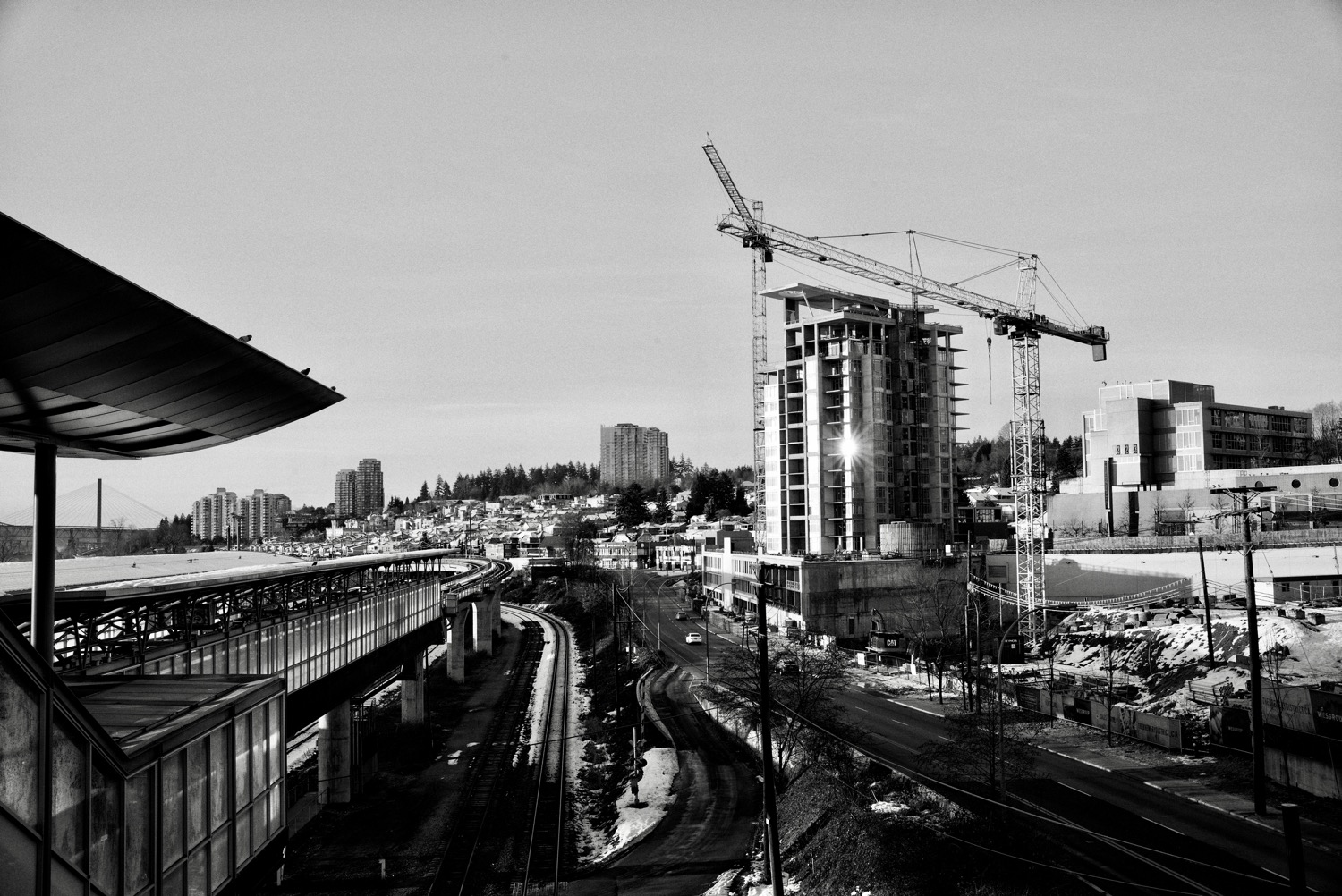 Winter view from Sapperton SkyTrain Station in New Westminster, BC  Click image to enlarge.