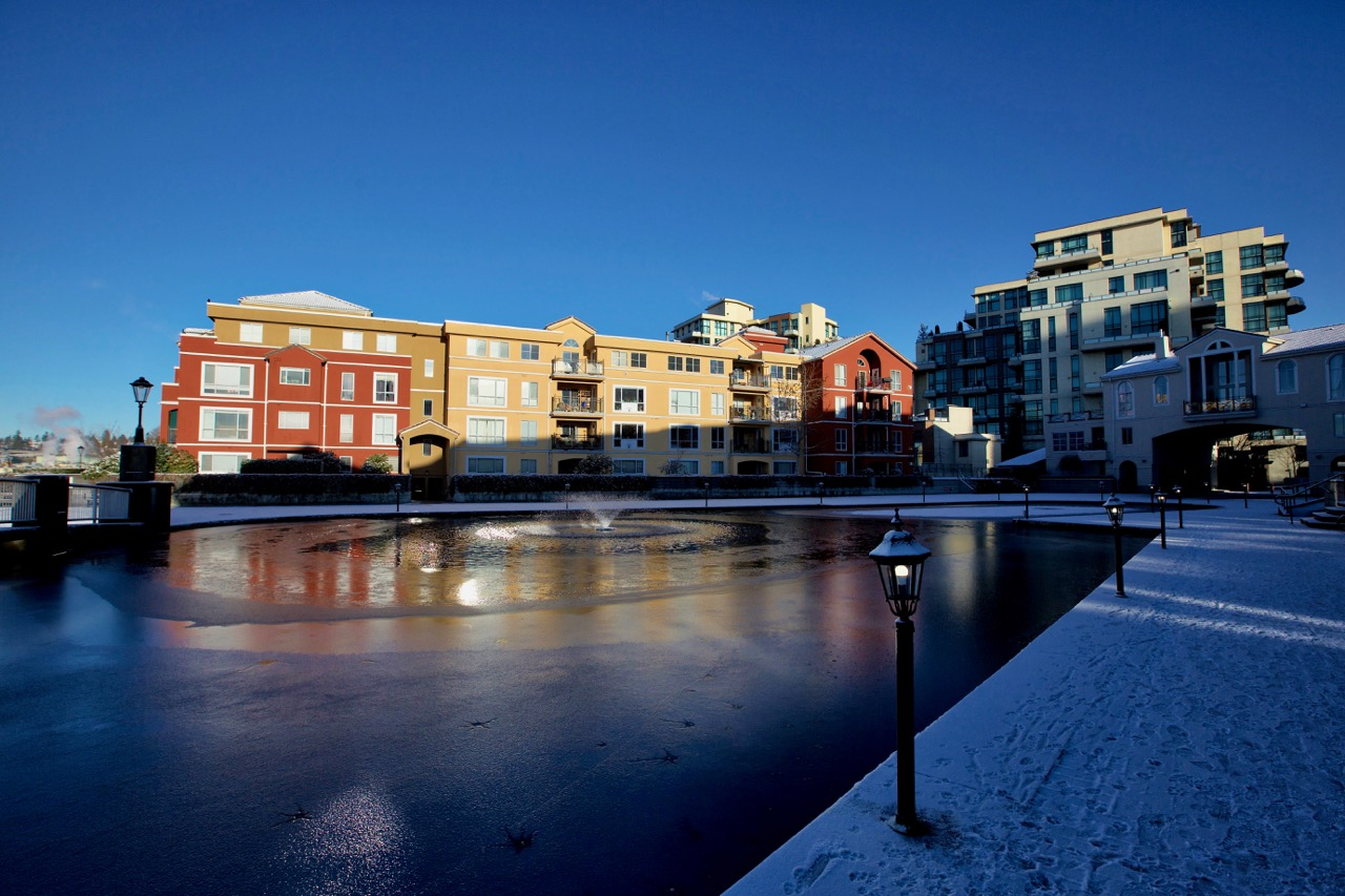 Night and day are highlighted by snow and ice at New Westminster Quay.