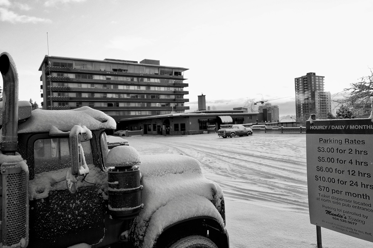 Parking lot after snow storm in New Westminster, B.C.  Click image to enlarge.