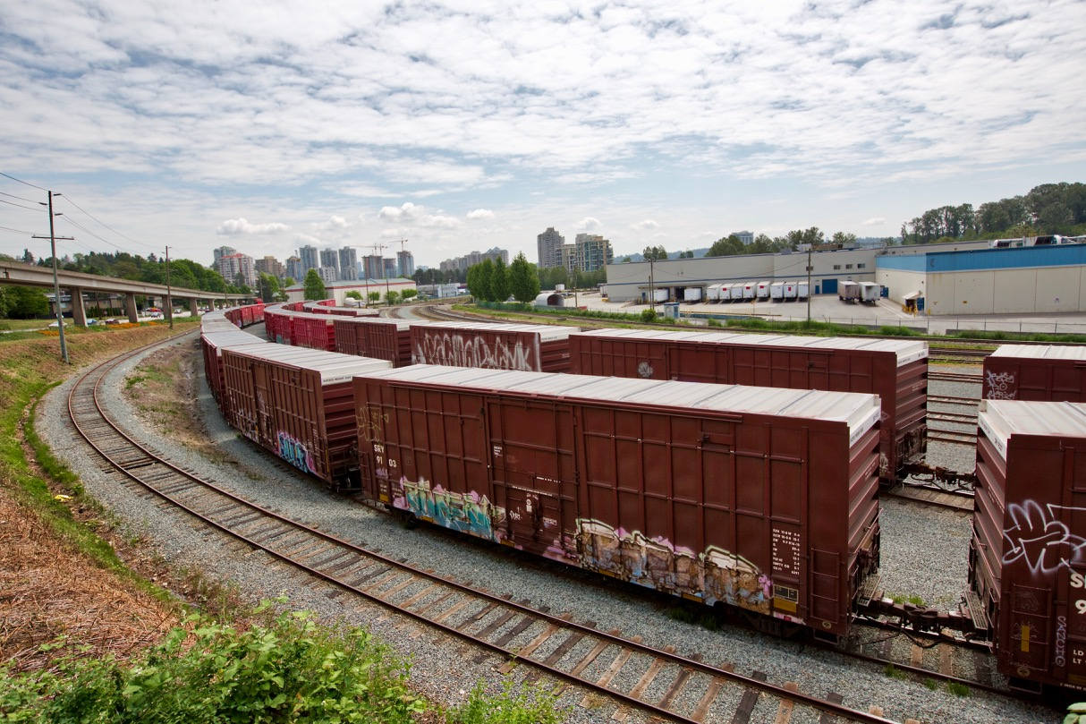 Boxcars near Kruger Products New Westminster MIll