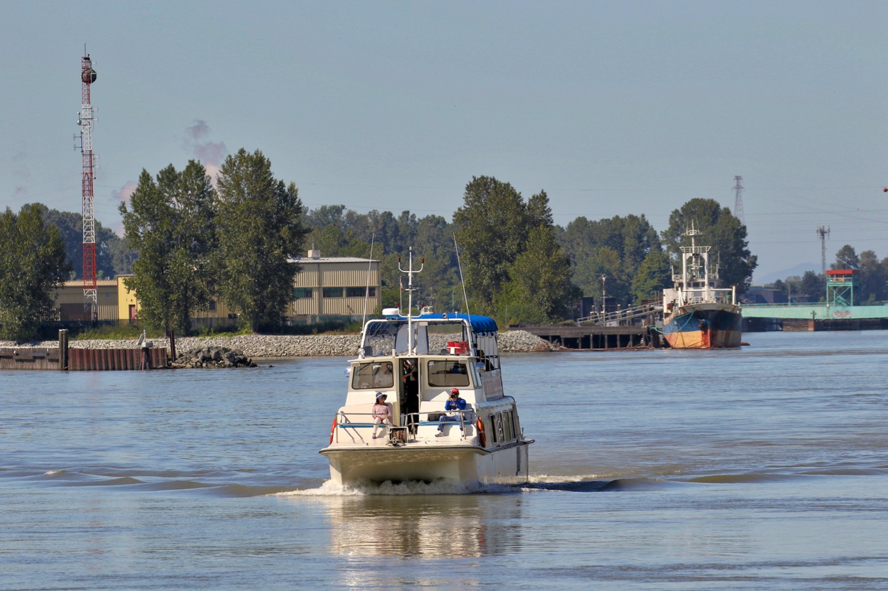 """Tour boat """"BETA STAR"""" off Shoal Point, Annacis Island in Fraser River."""