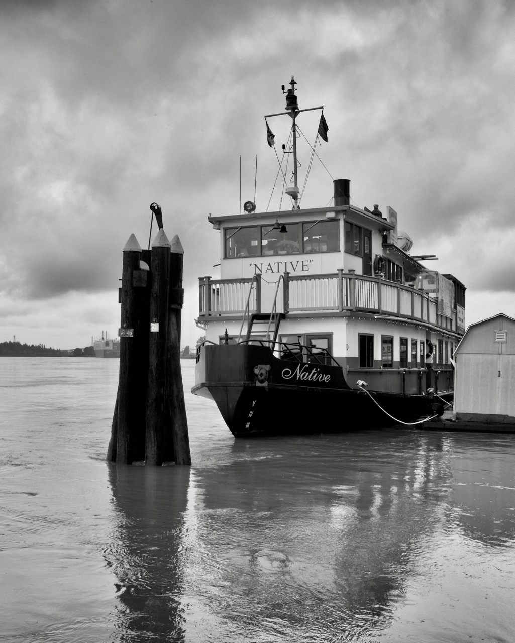 Paddlewheeler passenger ship M.V. Native in the Fraser River.  Built in 1985, her length is 21.34 m. and her breadth is 6.71 m. Her depth is 1.43 m.  Paddlewheeler vessels have a long history on the Fraser River. Their shallow draft is well-suited for navigating a river with a large volume of sediment.  An average of 3 million cubic metres of sediment is deposited annually in the navigable channel of the Fraser River.