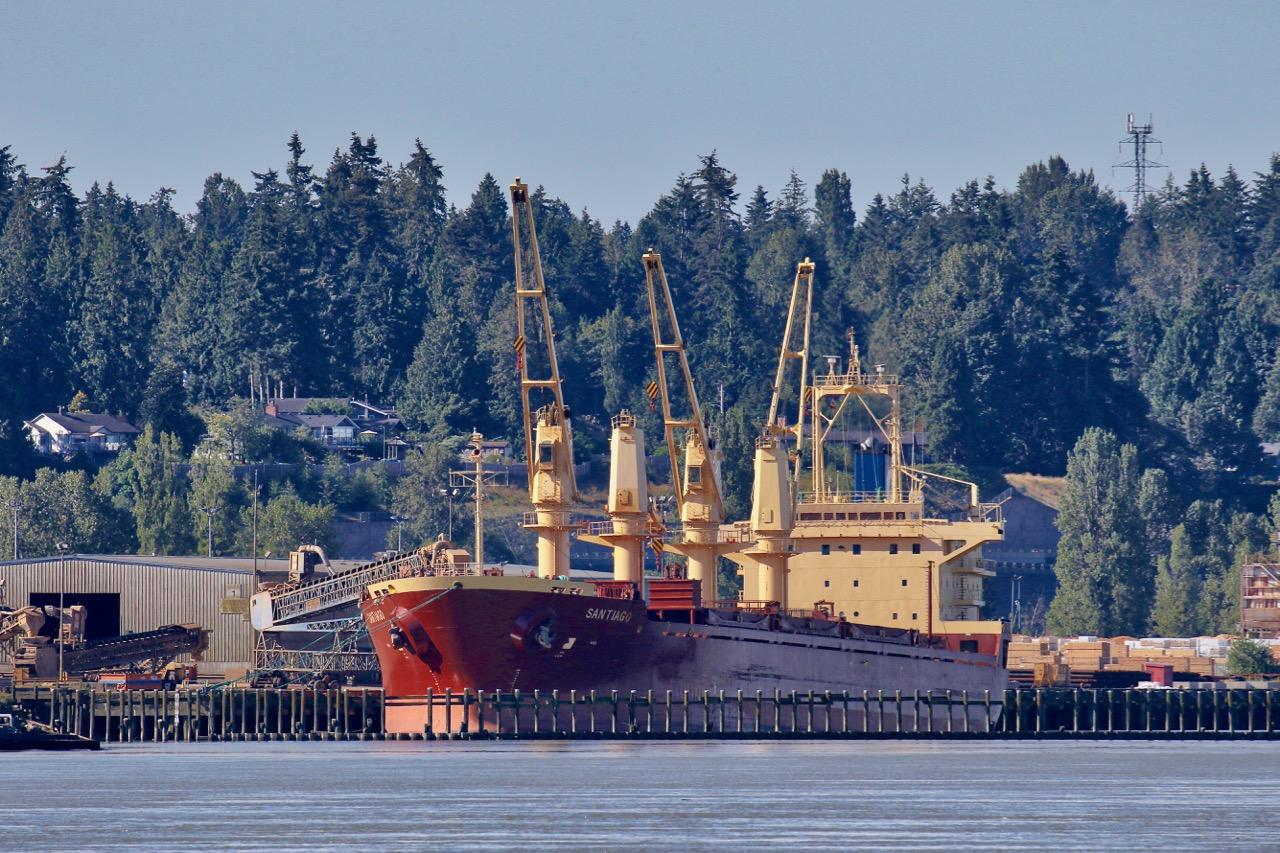 "Bulk carrier ship ""SANTIAGO"" at Fraser Surrey Docks in the Port of Vancouver.  Built in 2002, this cargo vessel is 171.67m long and 27m wide with an average draught of 8.3m. Gross tonnage is 19,746 and summer deadweight tonnage is 31,759.  Her flag is Cyprus and her home port is Limassol."