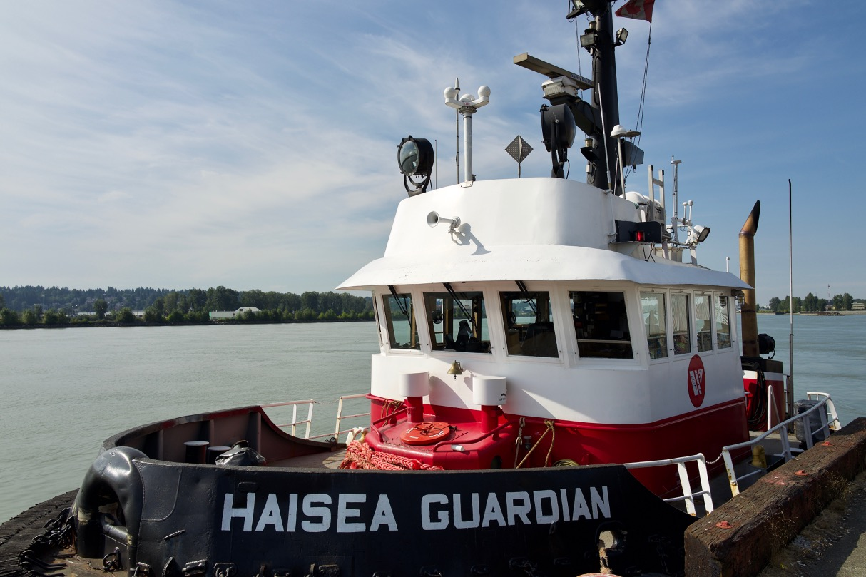 """Tugboat """"HAISEA GUARDIAN"""" in Fraser River.  HaiSea Marine Services Ltd. is a joint venture company between the Haisla Nation and Seaspan."""