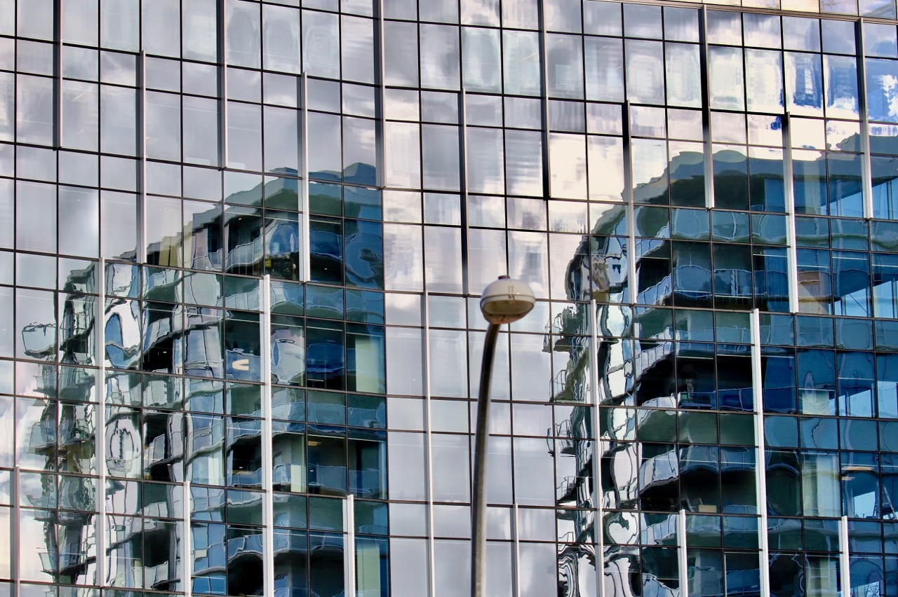 Urban window reflections, New Westminster, B.C.