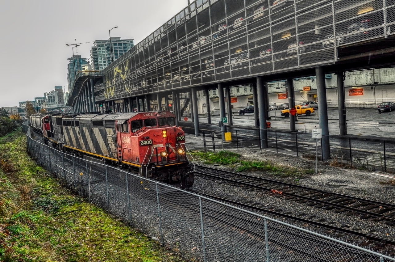 Canadian National locomotive CN 2408 leads a freight train in New Westminster B.C.