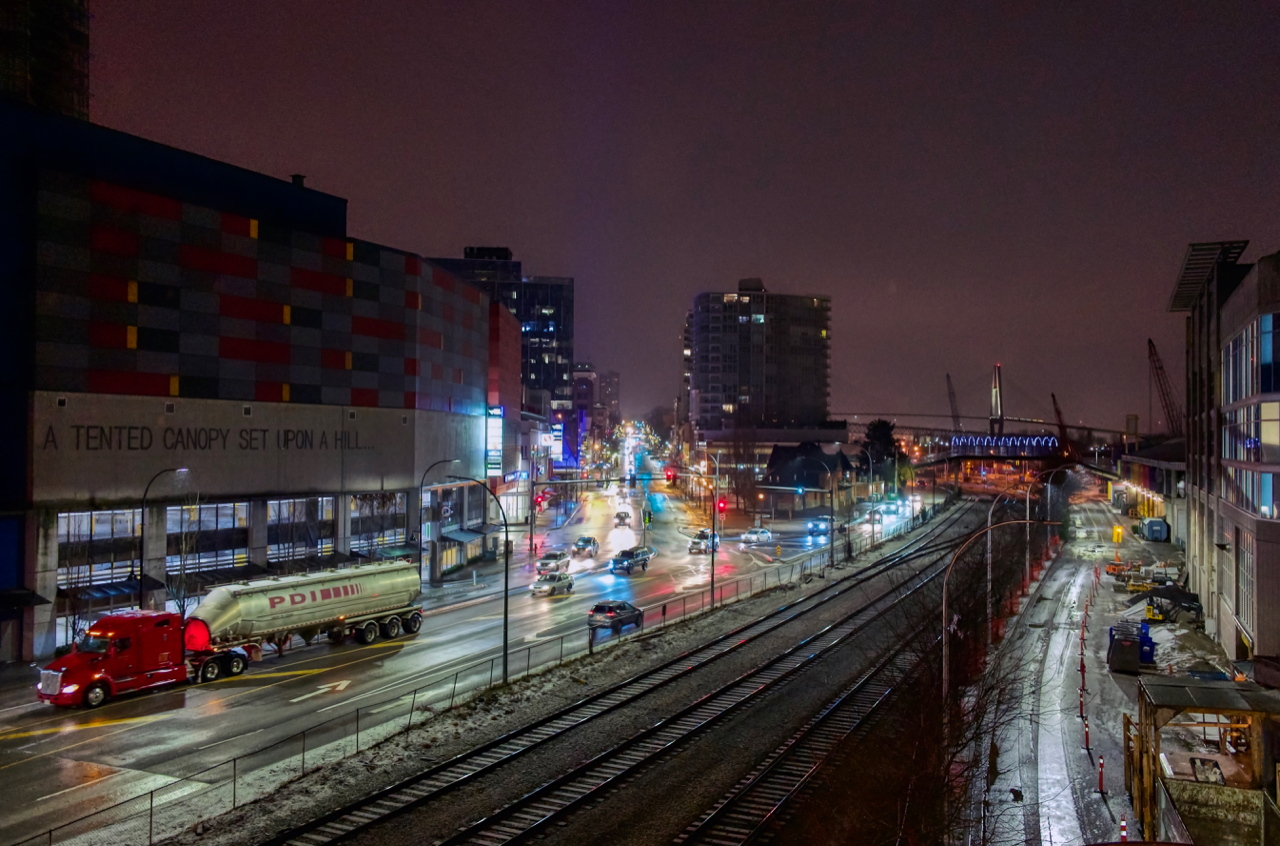 Nighttime traffic in New Westminster, B.C.