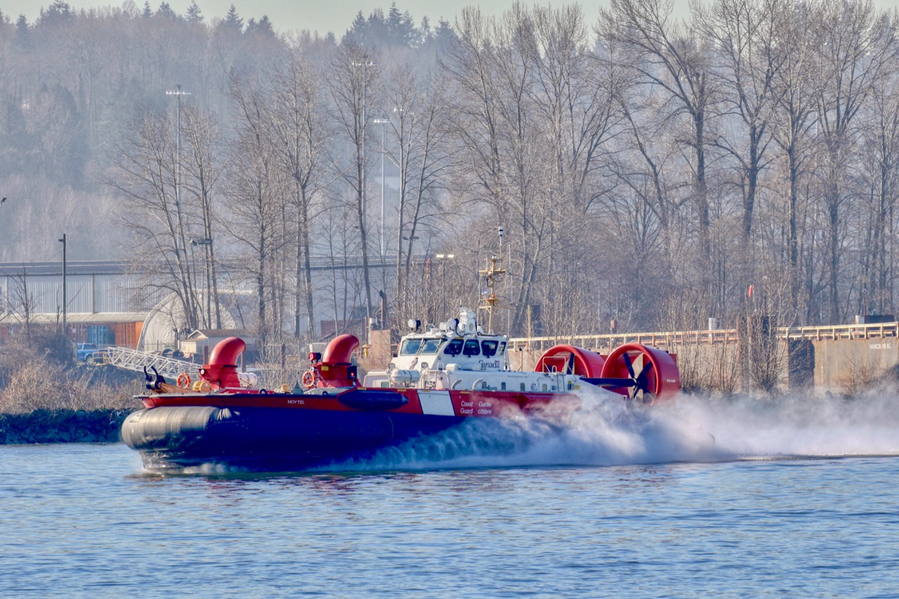"""Canadian Cost Guard Ship """"MOYTEL"""" is an Air Cushion Vehicle or Hovercraft shown here in Fraser River"""