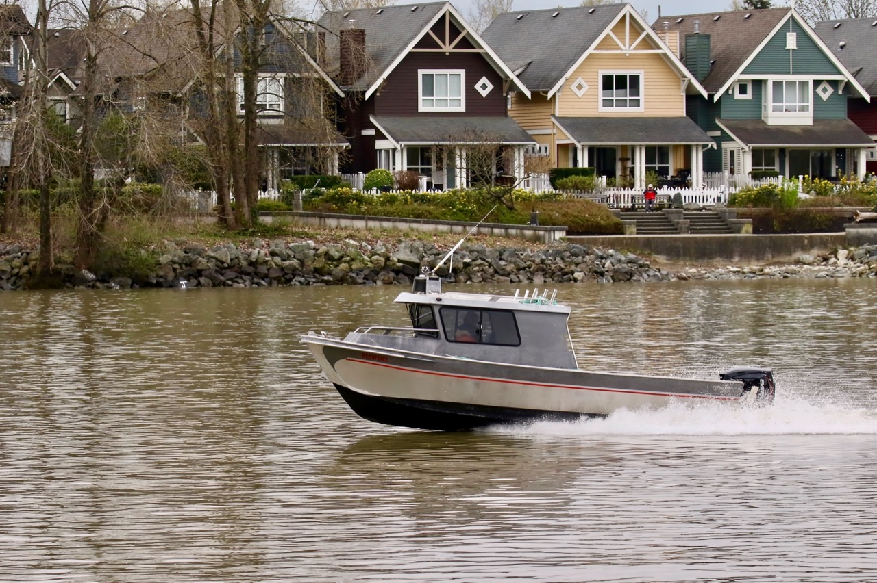 Aluminum boat manufactured by Titan Boats in Fraser River