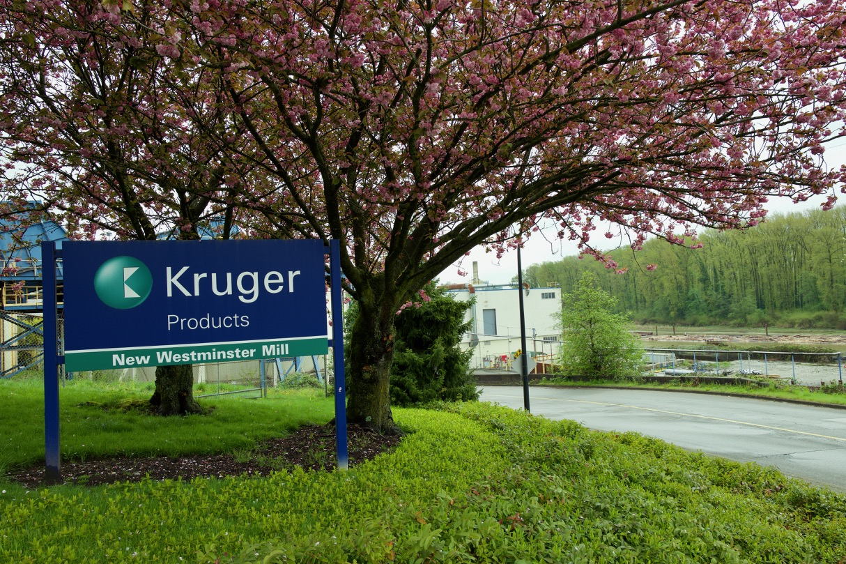 Kruger Products New Westminster Mill with Fraser River and Poplar Island