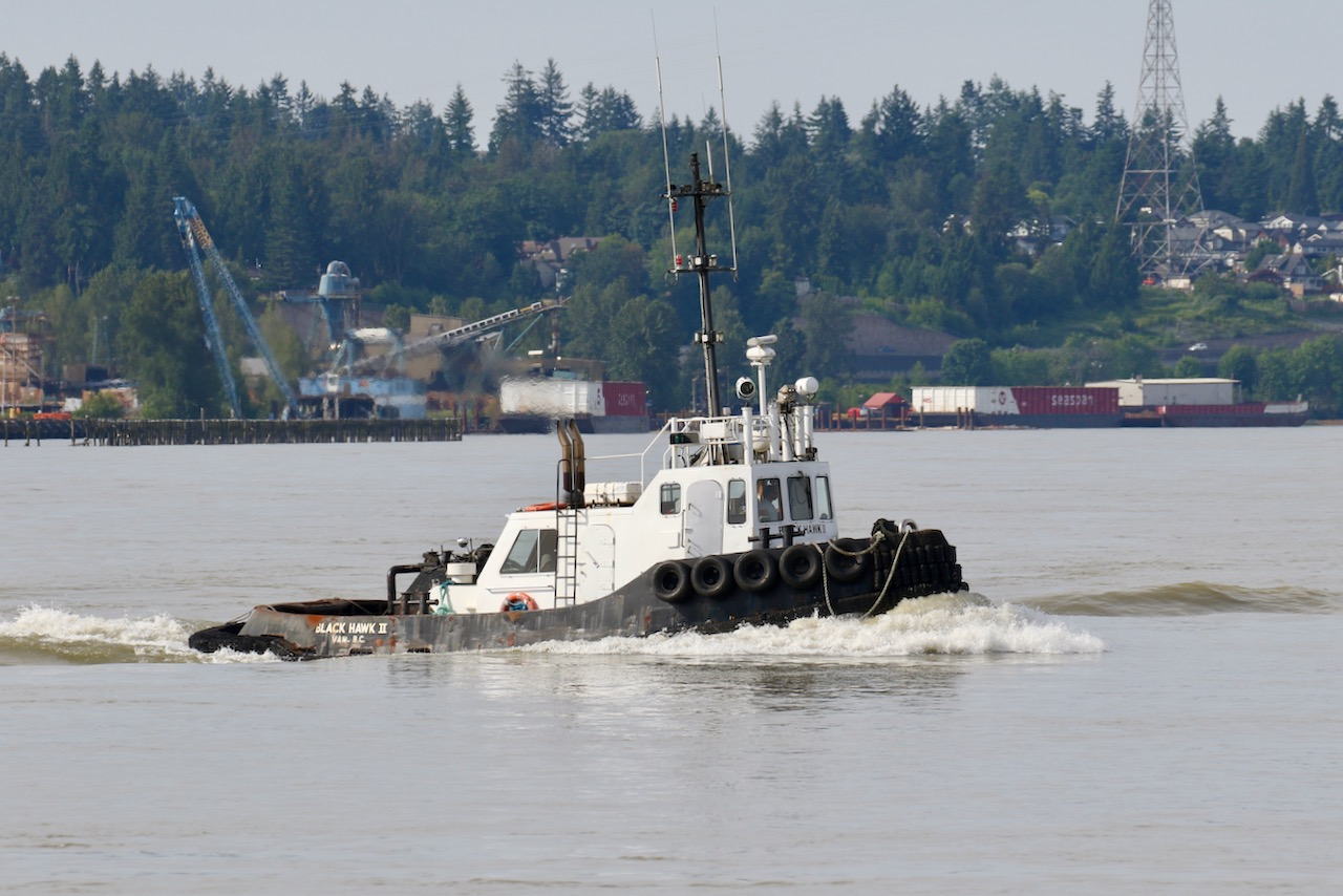 "Gisbourne Marine Services Ltd. tugboat ""BLACK HAWK II"" in Fraser River"