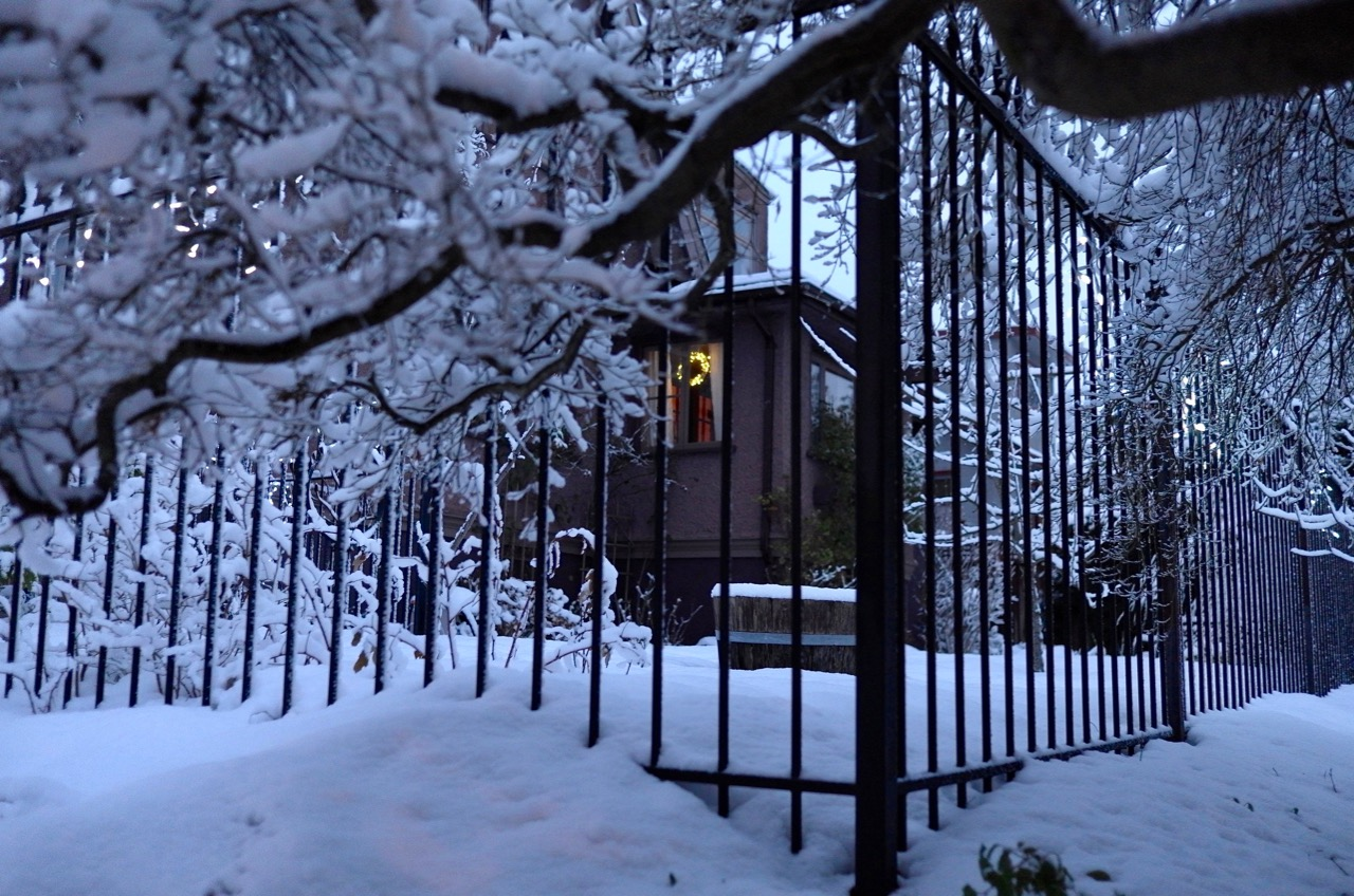 December snow in New Westminster, BC.