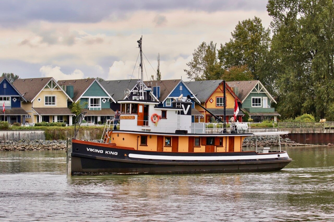 """VIKING KING"" in RiverFest 2019 Lucille Johnstone Workboat Parade  Built in 1921 by Thulin Brothers in Lund, B.C. Former vessel name was ""SHEPODY."" Vessel type is Pleasure Craft. Owned by Harken Towing Co. Ltd."