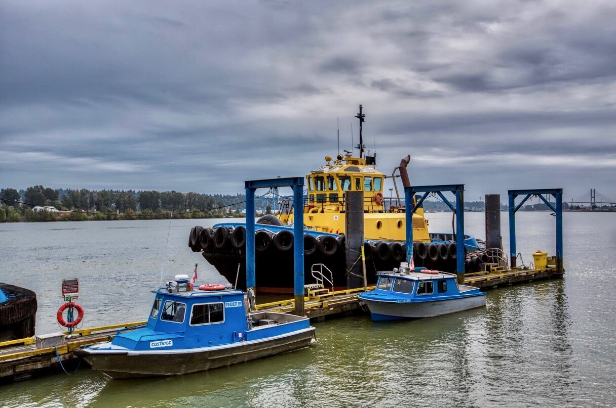 """SAAM SMIT Towage tugboat """"SST TIGER SUN"""" and passenger vessels """"FINDER IV"""" and """"SWAN ROCK"""", New Westminster B.C."""