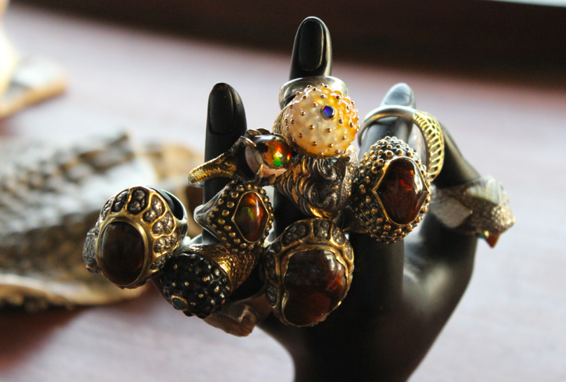 A very small sampling of Lou's work, a collection of rings