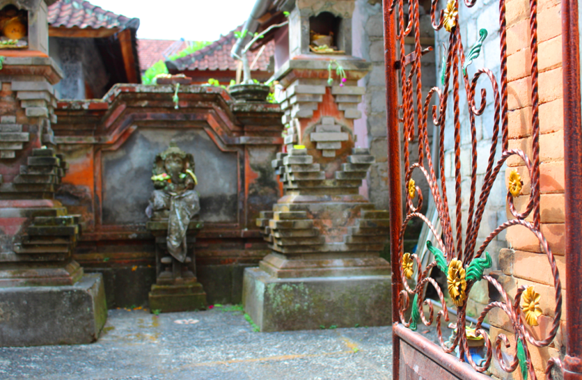 Looking into a backyard temple