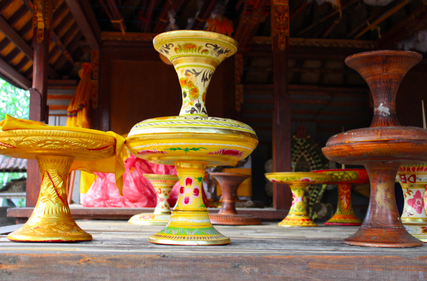 Colorful empty offering platters found at a temple near Ubud
