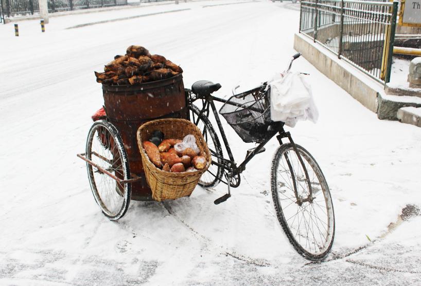 Steaming hot sweet potato bike at the Summer Palace