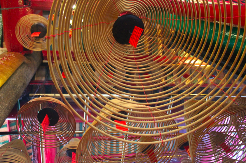 Hanging spiral incense at the Man Mo temple along the way to our first attempt at dim sum