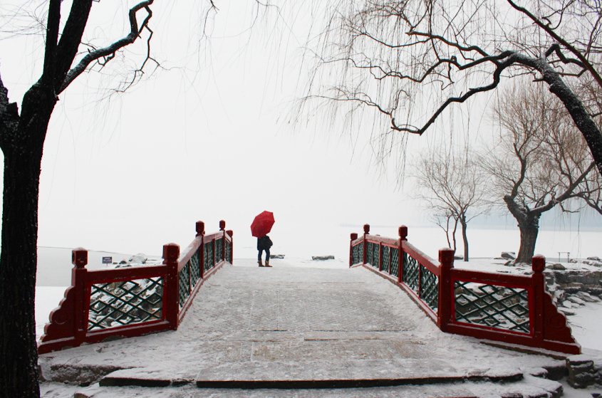Overlooking the man-made snow-covered lake at the Summer Palace, Beijing