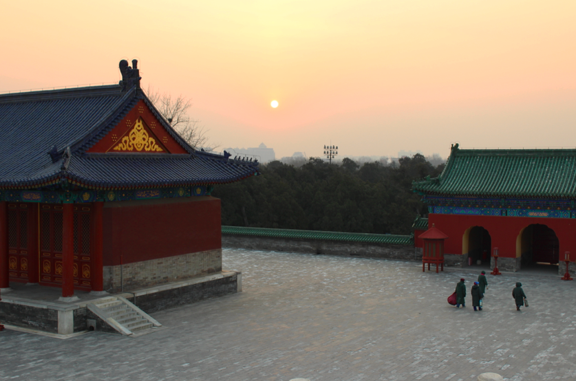 Pollution hazy sunset view from the Temple of Heaven in Beijing