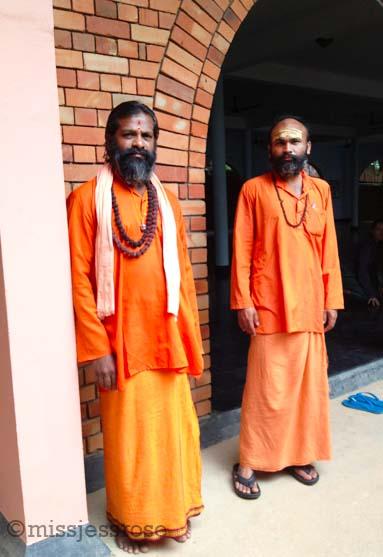 Swamis at the yoga ashram in Kerala