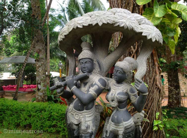Sculptures on the ashram grounds