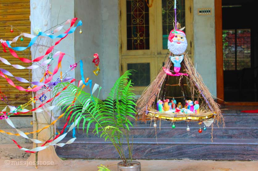 Colorful hanging nativity in a front yard. While Hinduism is the most prominent religion in India, Christianity is the third most popular religion in the state of Kerala.