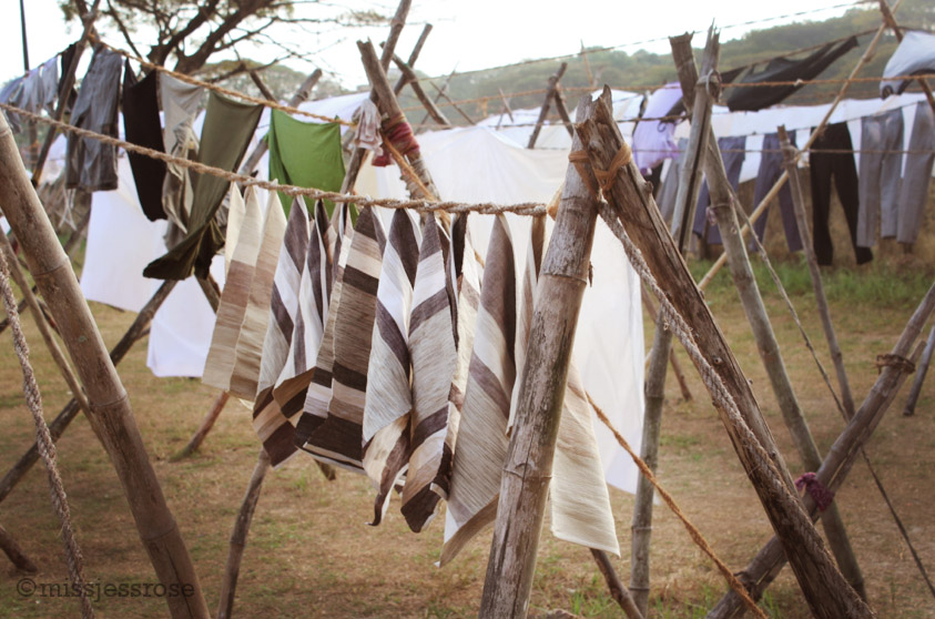 Laundry hanging to dry at the community laundry center