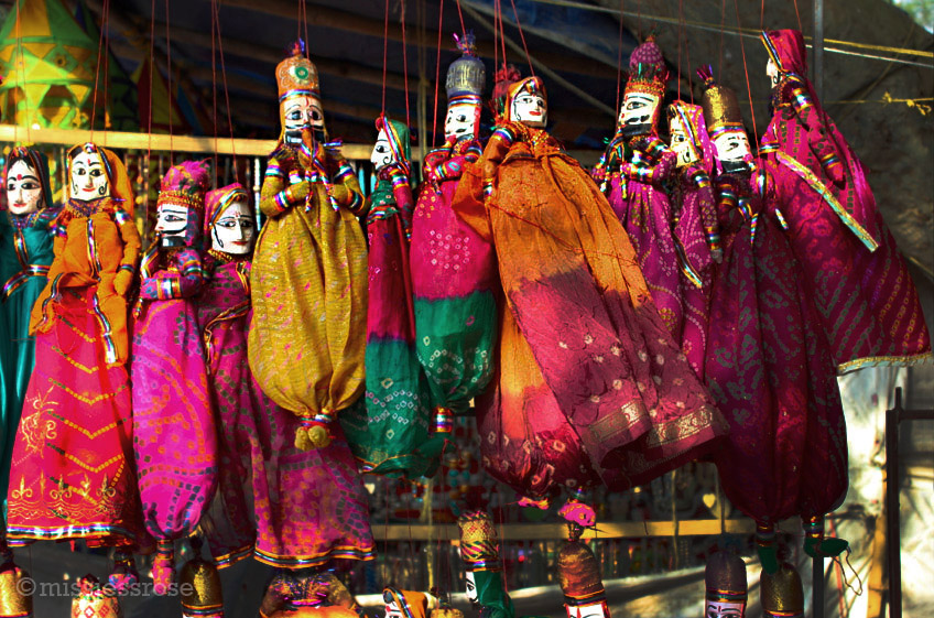 Traditional puppets for sale at the street market in Fort Kochi, Kerala