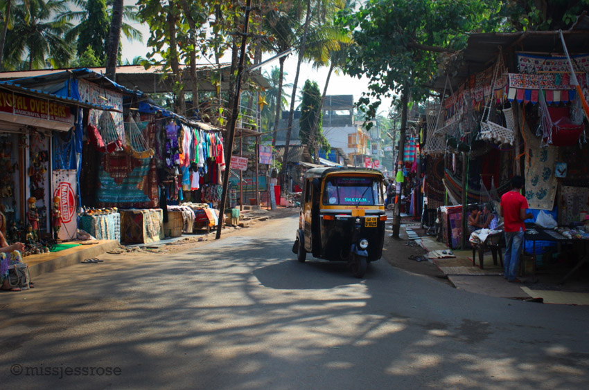 Shops line the main street in Palolem, selling everything from spices to jewelry