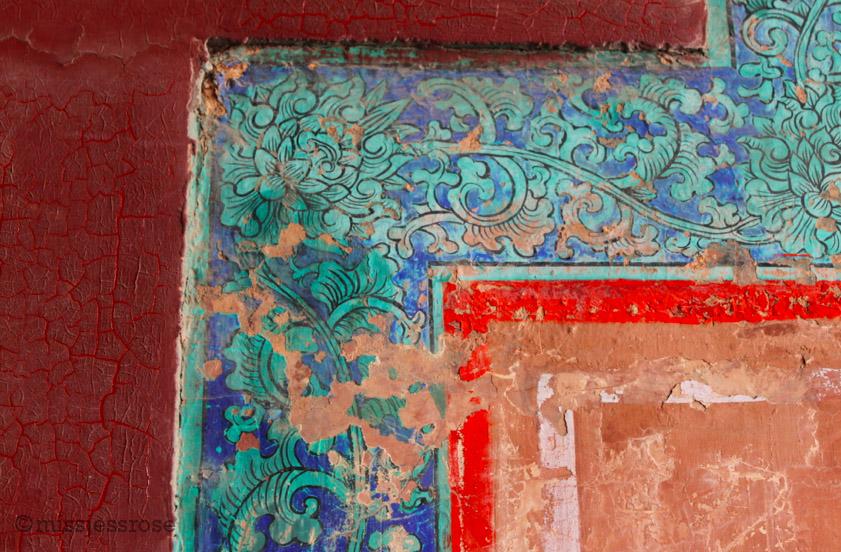 Original painted wall detail inside the Forbidden City, Beijing