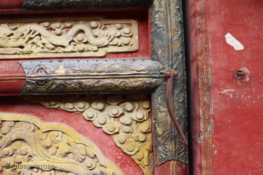 Details in red at the Forbidden City