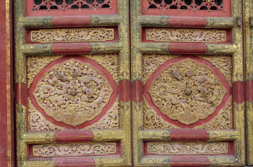 Beautiful doors in the Forbidden City palace