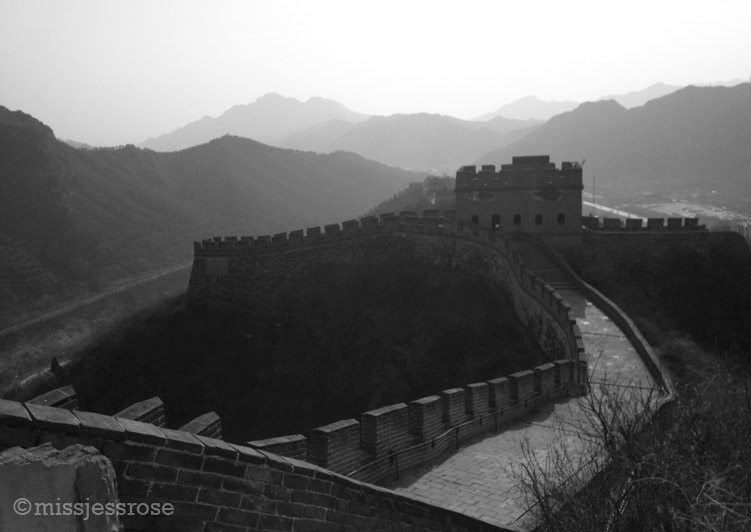 A hike up the Great Wall, hazy air in the distance