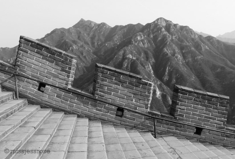 Hiking up a restored segment of the Great Wall