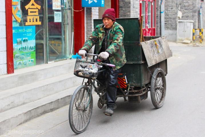 Biking through the narrow alleyways of the hutong