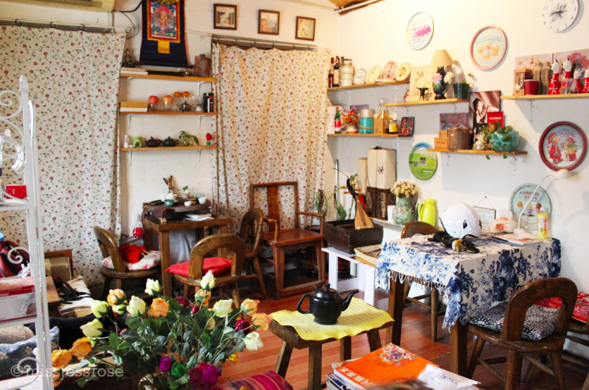 A small but cosy interior of a home turned tea cafe