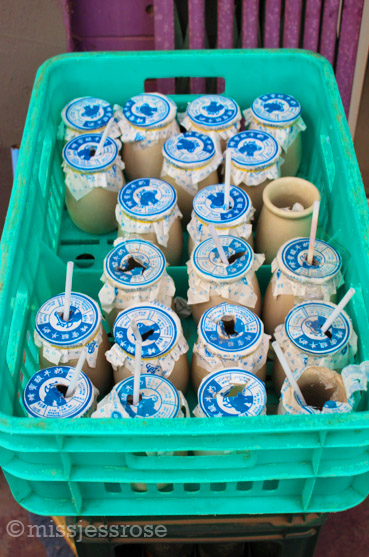 Colorful milk cartons