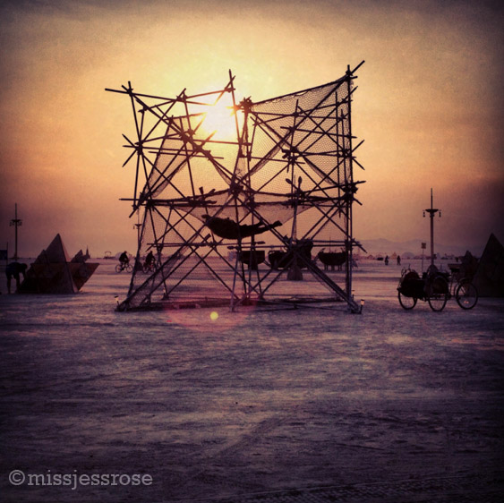 Sunrise on the playa. Hammock structure