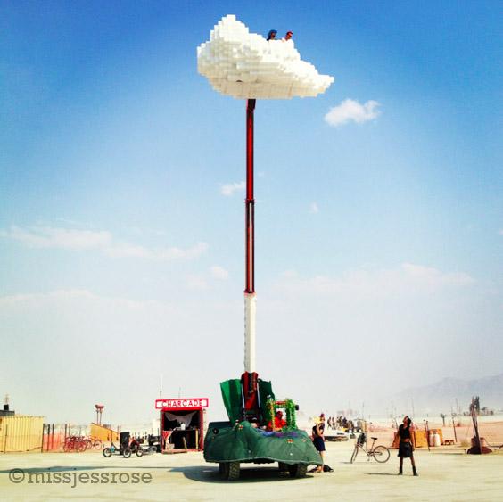 Pixel cloud art car