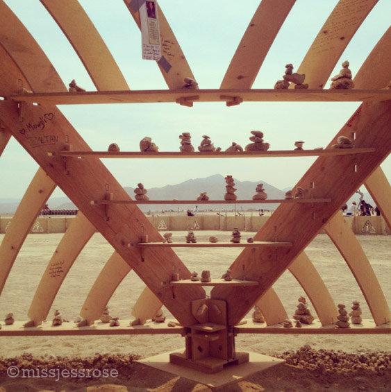 View from inside this year's temple of Whollyness, built by Gregg Fleishman and friends Syn and Lightening