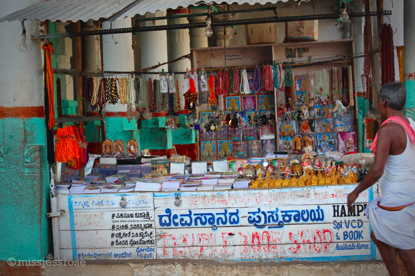 Prayer beads and other holy items for sale inside the temple grounds