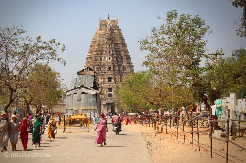 Virupaksha temple sits at the end of one of the main thoroughfares in Hampi, India