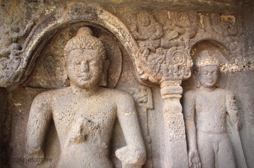 A few of the many Buddha carvings inside the Ajanta caves
