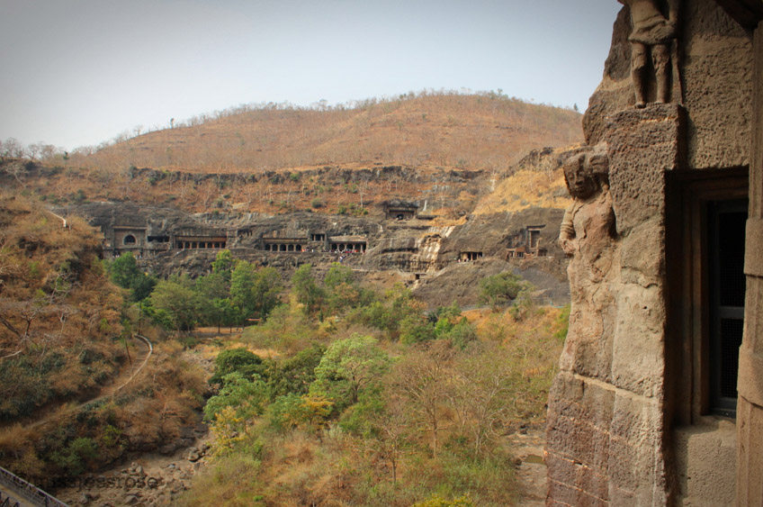 View of the ring of Ajanta caves from one end of the horseshoe