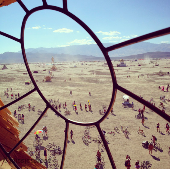 View of playa from inside the eye of Embrace